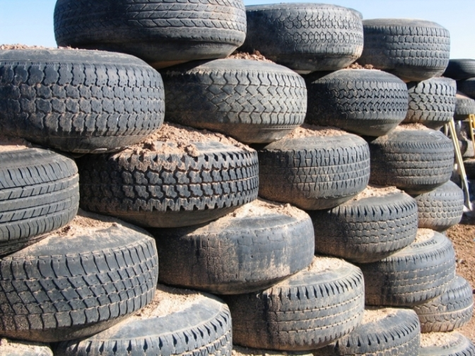 Used Tires | Rammed-Earth Blocks